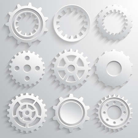Gear wheels icon set. Nine 3d gears on a gray background. Vector illustration Illustration