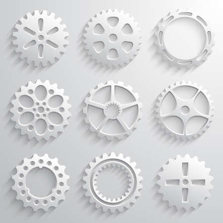 Gear wheels icon set. Nine 3d gears on a light gray background. Vector illustration