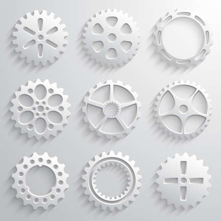 Gear wheels icon set. Nine 3d gears on a light gray background. Vector illustration