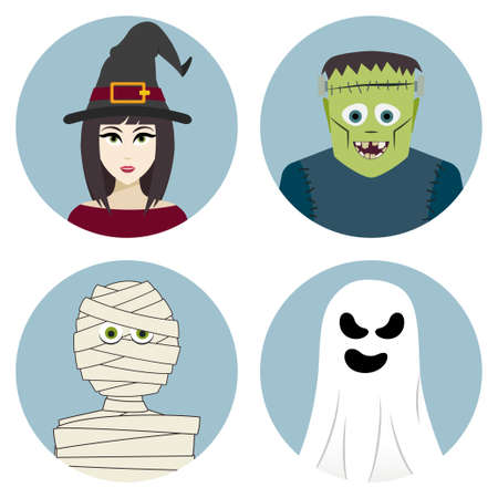 Halloween character set. Witch, mummy, ghost, Frankensteins monster. Vector illustration Vector
