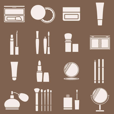 eyeliner: Icons cosmetics in a light beige silhouette. Vector illustration