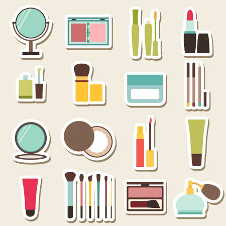 lipstick tube: Set of beauty and cosmetics colorful icons. Makeup vector illustration