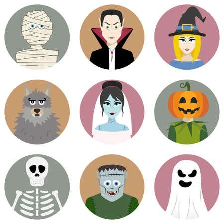 Set of nine Halloween characters. Vector illustration Vector