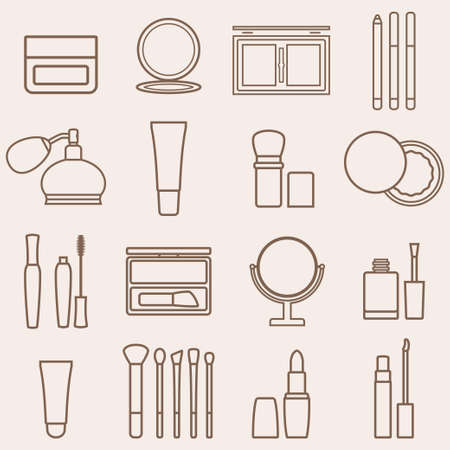 makeup brush: Set of silhouette beauty and cosmetics icons. Makeup vector illustration