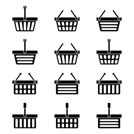 hand basket: Twelve silhouettes of shopping baskets icons. Vector illustration Illustration