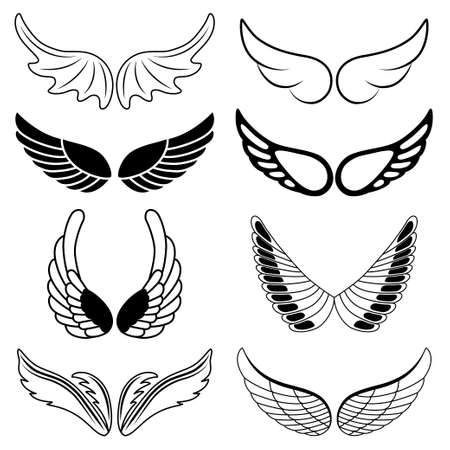 Set of eight black and white silhouettes of wings. Vector illustration Vector