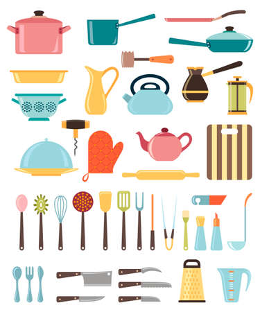 Set of kitchen utensil and collection of cookware icons, cooking tools and kitchenware equipment Vectores