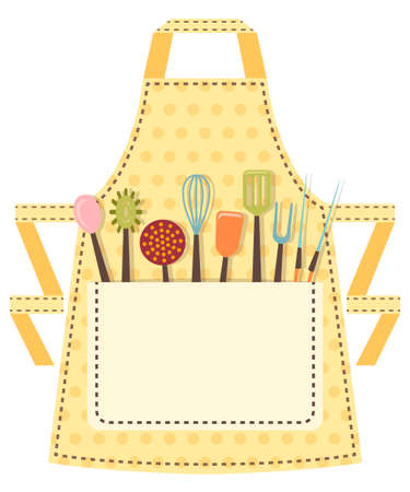kitchen equipment: Dotted kitchen apron with kitchen utensils in the pocket. Vector illustration