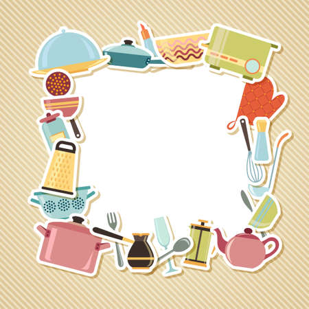 Kitchen utensils, appliances and cookware on striped background with blank place for text