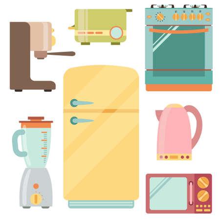 home accessories: Kitchen appliances icons set, kitchenware equipment. Vector illustration