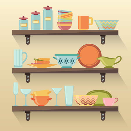 soup pot: Kitchen shelves with colorful tableware. Vector illustration
