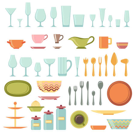 Kitchen utensils and cookware icons set, cooking tools and kitchenware equipment Vector