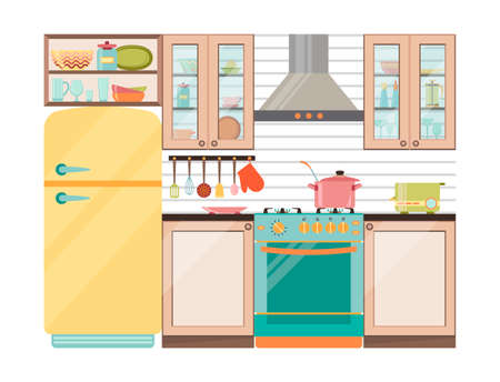 cupping: Kitchen interior. Kitchen appliances and utensils in retro style