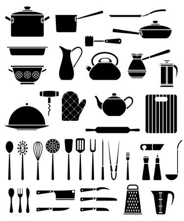 Set of kitchen utensil and collection of cookware icons, cooking tools and kitchenware equipment Stock Illustratie