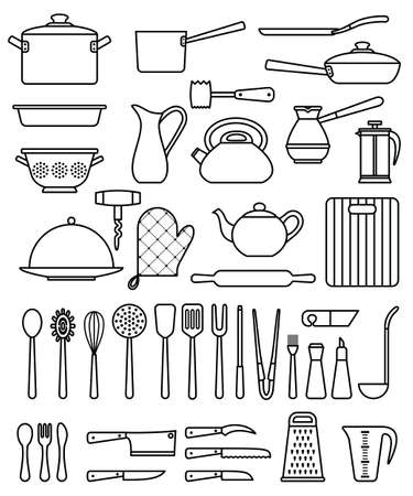 Set of silhouette kitchen utensils and collection of cookware icons, cooking tools and kitchenware equipment