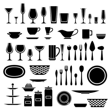 juice extractor: Set of silhouettes of cookware and kitchen accessories. Vector illustration