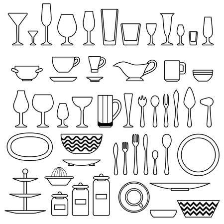 cupping: Silhouette of cookware and kitchen accessories. Vector illustration
