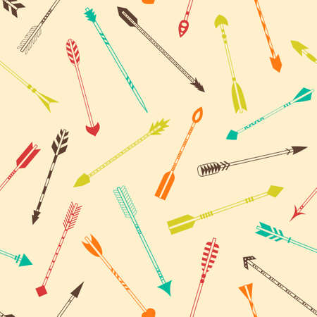 Seamless pattern with colorful Indian arrows on a light background