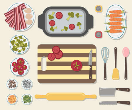 corolla: Process of cooking delicious food. Kitchen table with a cutting board and sliced vegetables