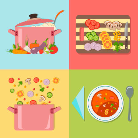 bailer: Cooking restaurant and vegetarian food. Four stages of preparing vegetable soup.