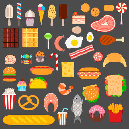 fried potatoes: Icons of sweets, fast food, meat and fish on dark background
