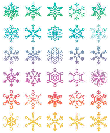 Thirty white snowflakes of different shapes. Winter set vector illustration Vector