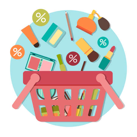 going down: Cosmetic products going down into basket. Vector illustration Illustration