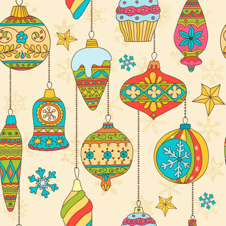 Hand drawn Christmas tree balls and snowflakes. Seamless pattern Vector