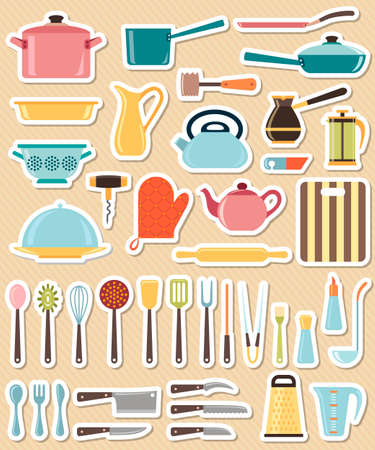 forceps: Set of kitchen utensil and collection of cookware icons, cooking tools and kitchenware equipment Illustration