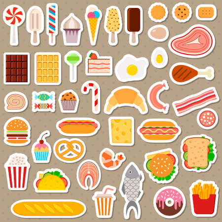 dog eating: Icons of sweets, fast food, meat and fish on dark background