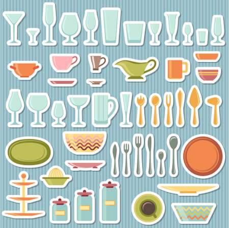 cupping: Kitchen utensils and cookware icons set, cooking tools and kitchenware equipment