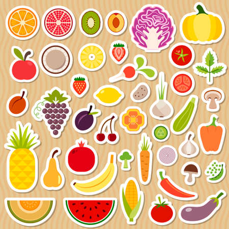 cherry tomato: Icons of fruits and vegetables for menu Illustration