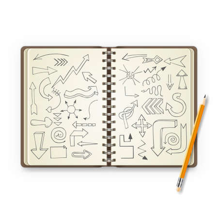 open notebook: Pencil and open notebook with painted arrows. Vector illustration