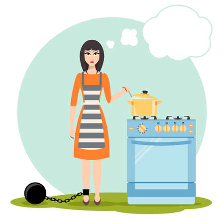shackles: Sad woman dreaming near the kitchen stove. Housewife in shackles