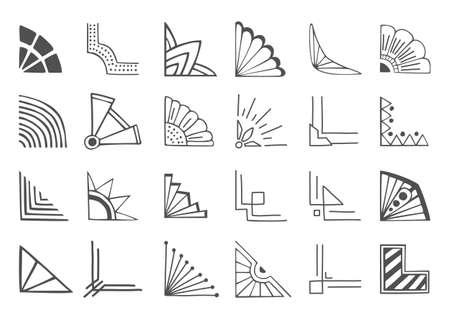 lineas decorativas: Conjunto de esquinas dibujadas mano 24 y elementos de diseño