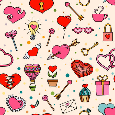 Seamless pattern for valentines day with hand drawn hearts and romantic symbols Vector
