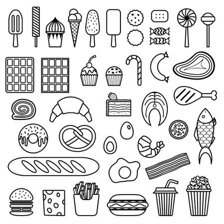 Icon of sweets, fast food, meat and fish. Vector food icon set Vector