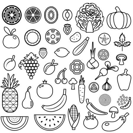 grapes and mushrooms: Icons of fruits and vegetables for menu. Vector food icon set