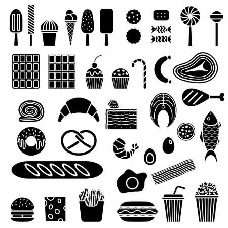 shrimp cocktail: Silhouette of sweets, fast food, meat and fish. Vector food icon set