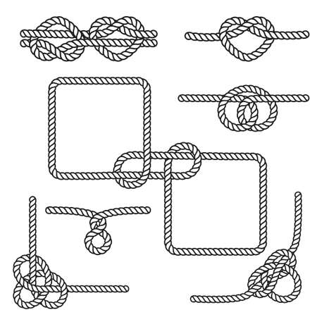 knots: Set of nautical rope knots, corners and frames