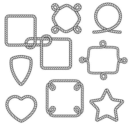 Set of nautical rope frames. Vector illustration Vectores