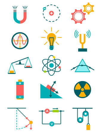 Science and physics icons set. Vector illustration Stock Illustratie