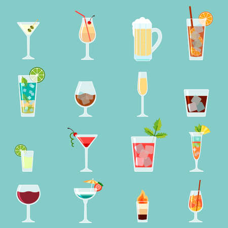 Cocktails icon set in flat design style.