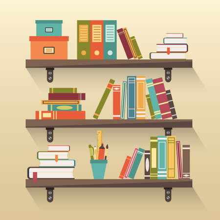 libro: Estantes con libros de colores en el estilo de diseño plano. Vectores
