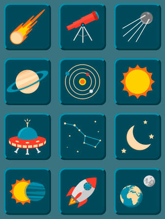 astronomy: Vector collection of colorful flat astronomy and space icons