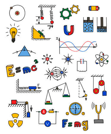 Hand drawn multicolored physics icon. Vector illustration