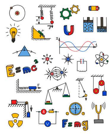 Hand drawn multicolored physics icon. Vector illustration