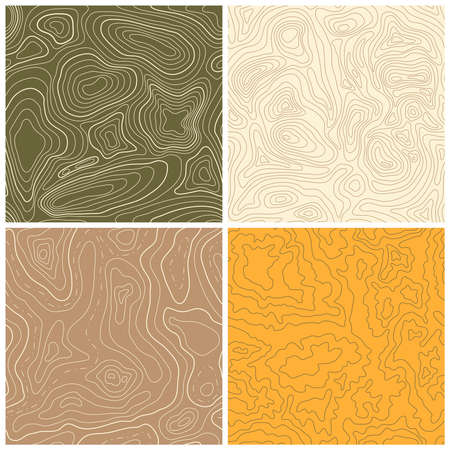 topographic: Set of four seamless topographic map patterns. Vector illustration
