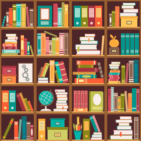 Seamless pattern with books on bookshelves. Vector illustration Çizim
