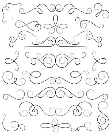 curls: Decorative curls and swirls collection. Vector hand drawn elements Illustration